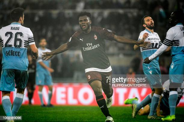 AC Milan's Ivorian midfielder Franck Kessie celebrates after opening the scoring during the Italian Serie A football match Lazio Rome vs AC Milan on...