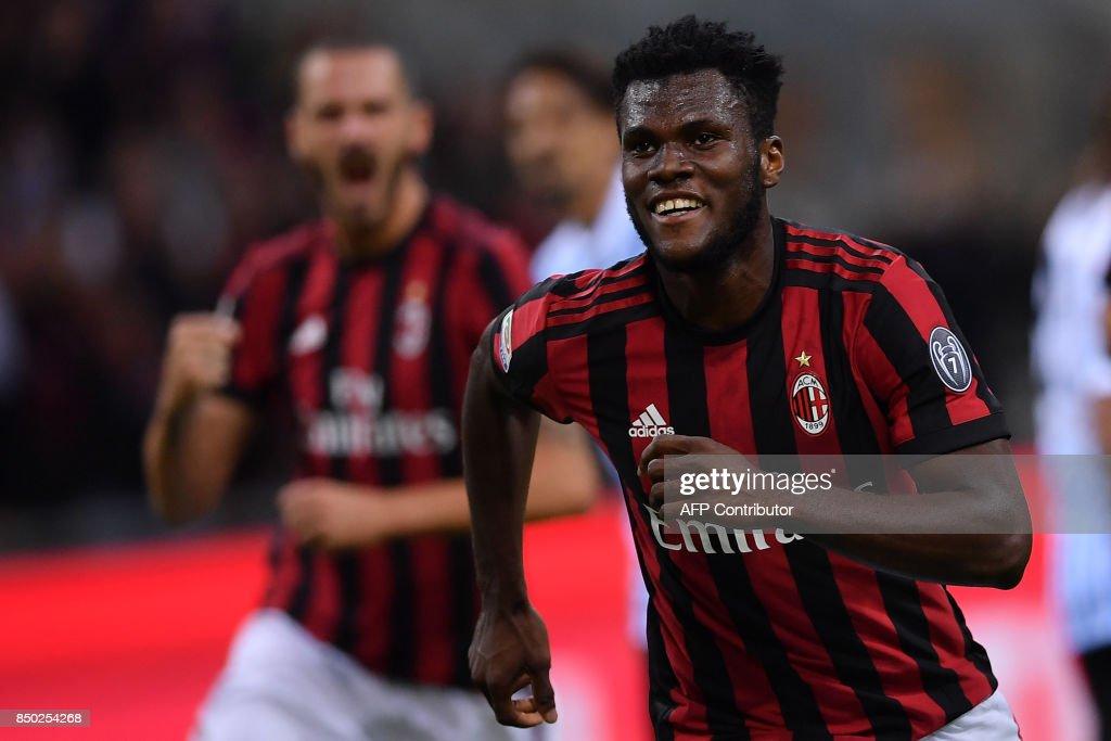 AC Milan's Ivorian midfielder Franck Kessie celebrates after scoring a goal during the Italian Serie A football match AC Milan vs Spal at San Siro stadium in Milan on September 20, 2017. /