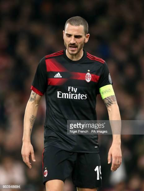 AC Milan's Leonardo Bonucci during the UEFA Europa League round of 16 second leg match at the Emirates Stadium London PRESS ASSOCIATION Photo Picture...