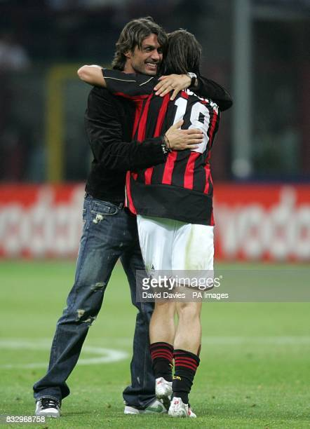 AC Milan's Marek Jankulovski and Paolo Maldini celebrate at the final whistle after reaching the UEFA Champions League Final