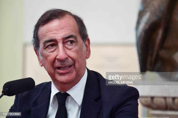 Milan's mayor, Giuseppe Sala gives a press conference, on July 27 to present the autumn 2020 programming at the Scala Opera House in Milan.