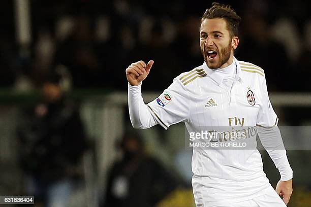 AC Milan's midfielder Andrea Bertolacci celebrates after scoring during the Italian Serie A football match Torino Vs AC Milan on January 16 2017 at...