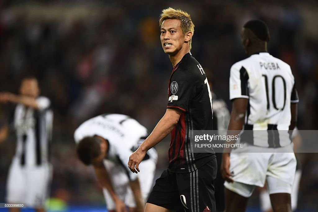 AC Milan's midfielder from Japan Keisuke Honda looks on during the Italian Tim Cup final football match AC Milan vs Juventus on May 21, 2016 at the Olympic Stadium in Rome.