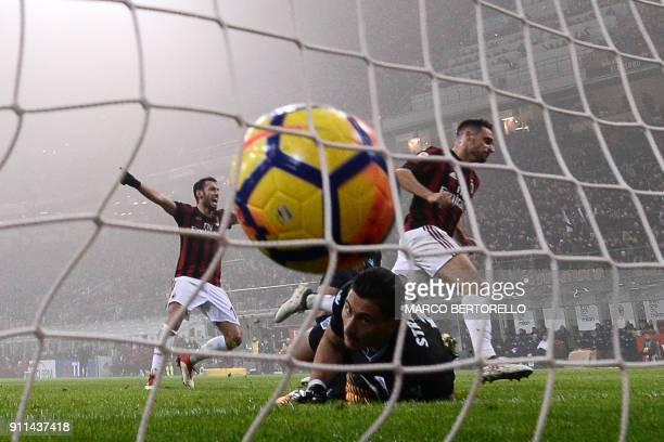 Milan's midfielder Giacomo Bonaventura from Italy scores during the Italian Serie A football match AC Milan Vs Lazio on January 28, 2018 at the...