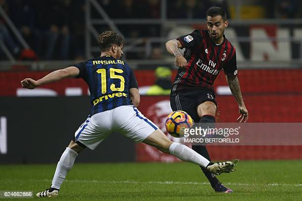 AC Milan's midfielder Suso from Spain scores a goal during the Italian Serie A football match AC Milan Vs Inter Milan on November 20 2016 at the 'San...