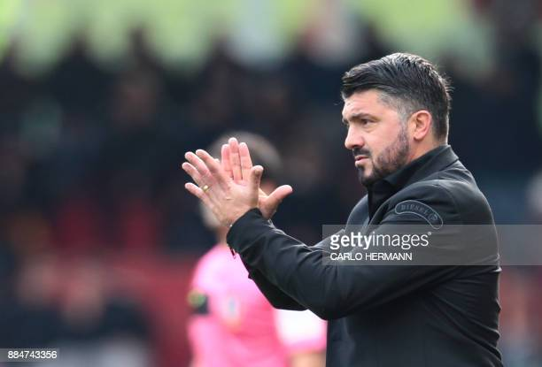 AC Milan's new coach Gennaro Gattuso gestures during the Italian Serie A football match Benevento Calcio vs AC Milan on December 3 2017 at the Ciro...