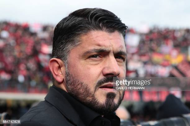 AC Milan's new coach Gennaro Gattuso is pictured before the Italian Serie A football match Benevento Calcio vs AC Milan on December 3 2017 at the...