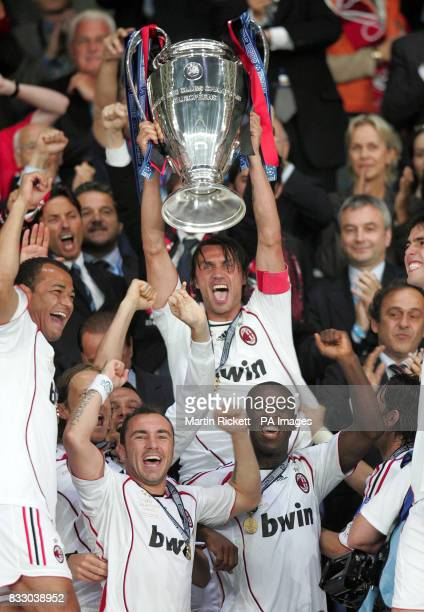AC Milan's Paolo Maldini lifts the trophy after the Champions League Final at the Athens Olympic Stadium Athens Greece