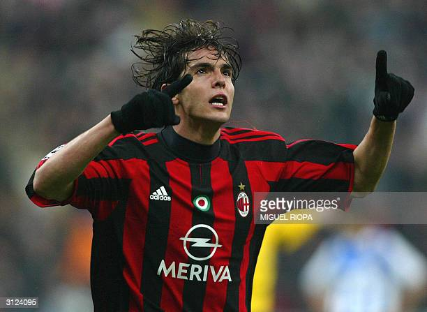 Milan's player Brazilian Kaka celebrates after scoring against Deportivo Coruna during the European Champions League matchday 4 first leg football...