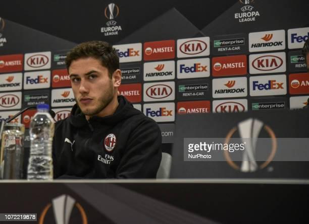 AC Milan's player Davide Calabria during a press conference in Karaiskaki stadium in Piraeus near Athens on Wednesday Dec 12 2018 Milan will face...