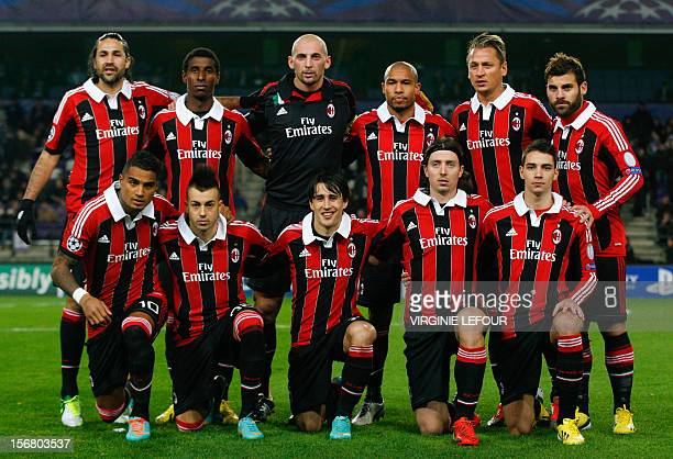 AC Milan's players pose before an UEFA Champions League group C football match between Anderlecht and AC Milan on November 21 2012 in Brussels Top...