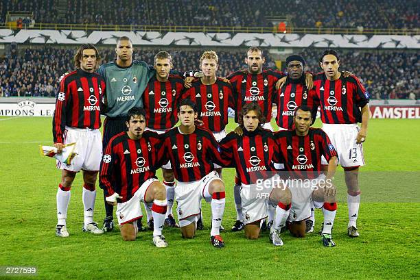 Milan's players pose for a team picture at the beginning of their UEFA Champions League soccer match Club Brugge vs AC Milan Tuesday 04 November 2003...
