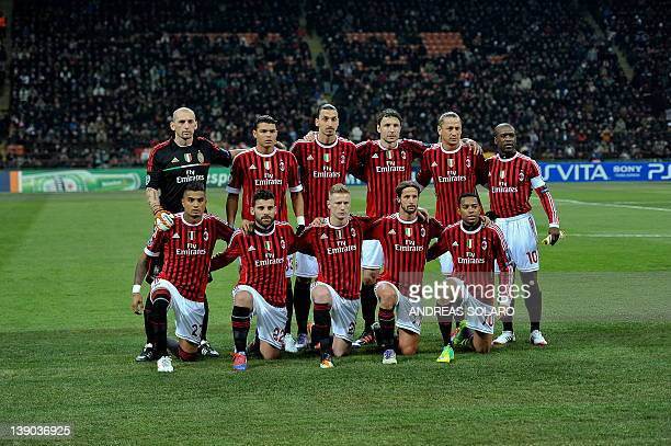 AC Milan's players pose prior the UEFA Champions League round of 16 first leg match AC Milan vs Arsenal at San Siro stadium on February 15 2012 in...