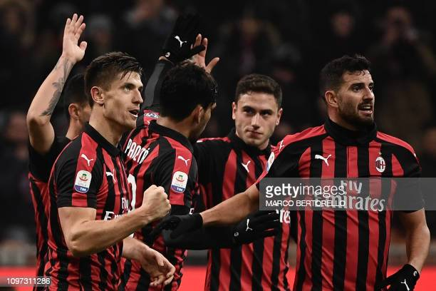AC Milan's Polish forward Krzysztof Piatek celebrates after scoring during the Italian Serie A football match AC Milan vs Cagliari on February 10...