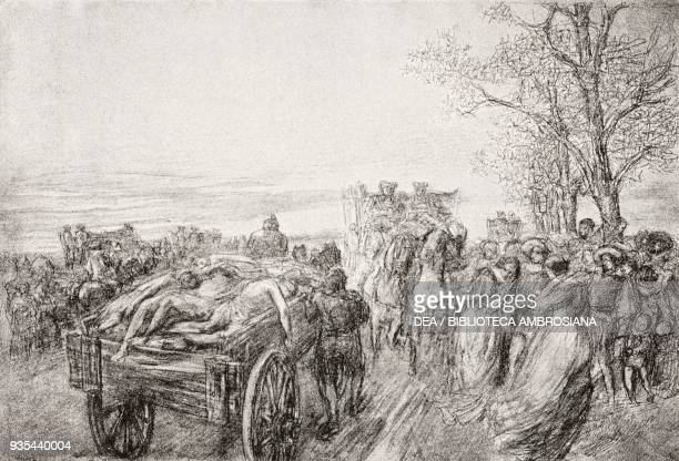 Milan's population believe the plague after seeing a cart loaded with the tortured bodies of an entire family at San Gregorio cemetery, illustration...