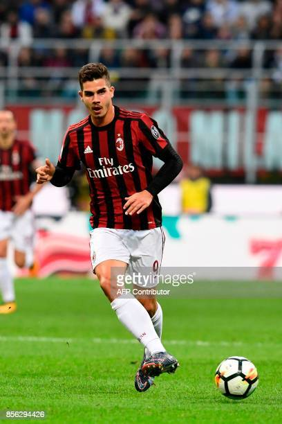 AC Milan's Portuguese forward Andre Silva kicks the ball during the Italian Serie A football match AC Milan vs AS Roma at the San Siro stadium in...