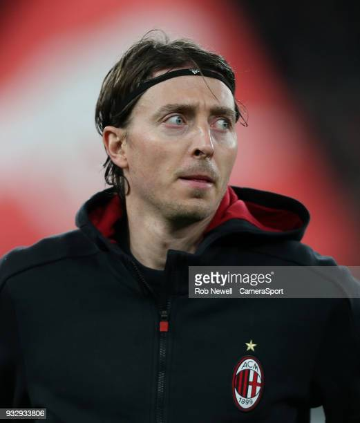 Milan's Riccardo Montolivo during the Europa League Round of 16 Second Leg match between Arsenal and AC Milan at Emirates Stadium on March 15 2018 in...