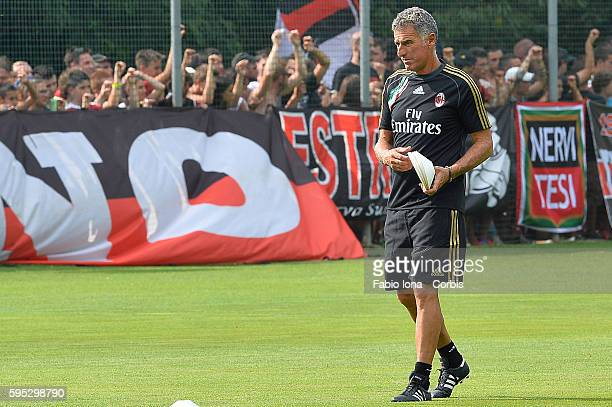 AC Milan's second coach Mauro Tassotti gestures during a training session at the Milanello training center in Carnago northern Italy July 8 2013