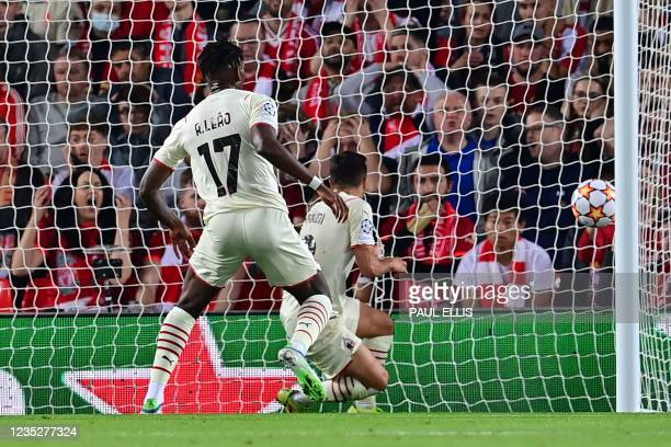 Milan's Spain's midfielder Brahim Diaz scores his team's second goal during the UEFA Champions League 1st round Group B football match between...