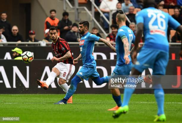 AC Milan's Spanish forward Fernandez Suso kicks the ball during the Italian Serie A football match AC Milan vs Napoli at the San Siro stadium in...