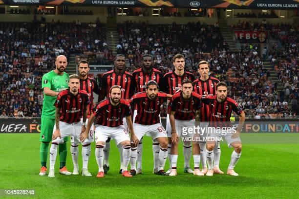 AC Milan's Spanish forward Samuel Castillejo AC Milan's Argentine forward Gonzalo Higuain AC Milan's Swiss defender Ricardo Rodriguez AC Milan's...