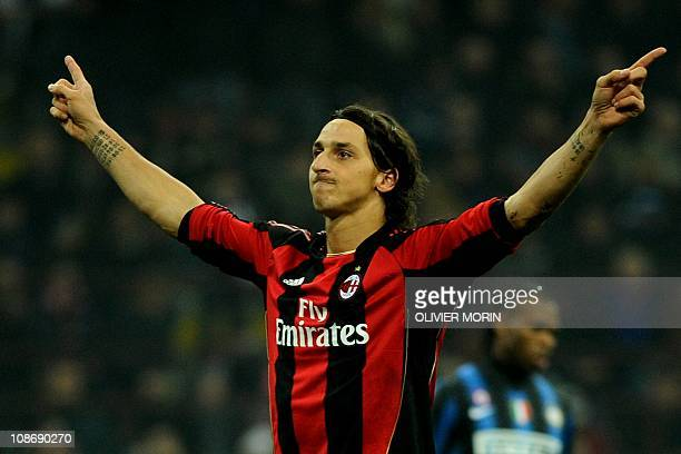 AC Milan's Swedish forward Zlatan Ibrahimovic celebrates after scoring a penalty against Inter Milan during their Italian Serie A football match on...