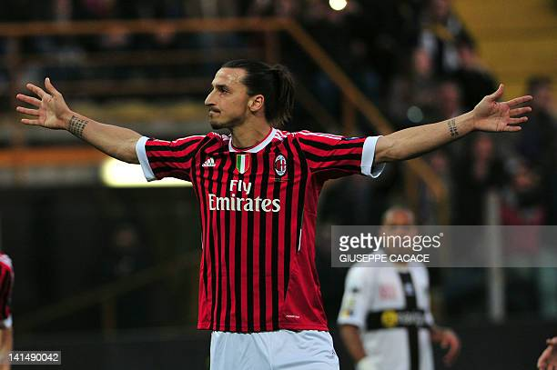 AC Milan's Swedish forward Zlatan Ibrahimovic celebrates after scoring a penalty during the Serie A football match between Parma vs AC Milan at Ennio...