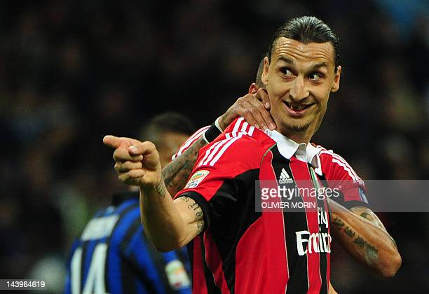 Milan's Swedish forward Zlatan Ibrahimovic celebrates after scoring the penalty kick during the seria A match Inter against Milan, on May 6, 2012 in...
