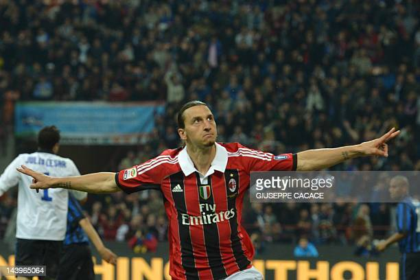 AC Milan's Swedish forward Zlatan Ibrahimovic celebrates after scoring during their Serie A football match between Inter Milan and AC Milan at San...