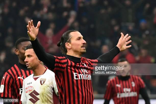 AC Milan's Swedish forward Zlatan Ibrahimovic celebrates scoring his team's fourth goal during the Italian Cup round of 8 football match between AC...