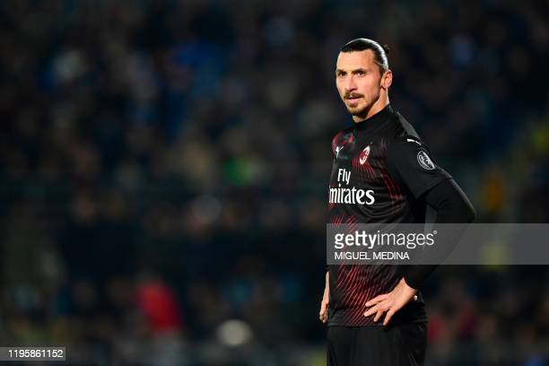 Milan's Swedish forward Zlatan Ibrahimovic looks on during the Italian Serie A football match between Brescia and AC Milan on January 24, 2020 at the...