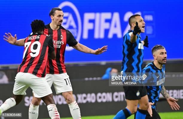Milan's Swedish forward Zlatan Ibrahimovic reacts after arguing with Inter Milan's Serbian defender Aleksandar Kolarov during the Italian Cup quarter...