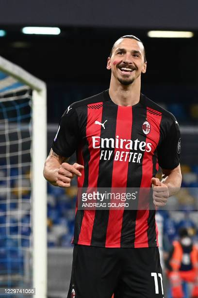 AC Milan's Swedish forward Zlatan Ibrahimovic reacts after he scored an offside goal during the Italian serie A football match Napoli vs AC Milan on...