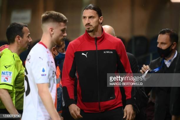 Milan's Swedish forward Zlatan Ibrahimovic reacts at half-time of the Italian Serie A football match Atalanta Bergamo vs AC Milan on May 23, 2021 at...