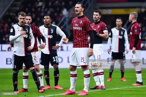 AC Milan's Swedish forward Zlatan Ibrahimovic reacts during the Italian Cup semifinal first leg football match AC Milan vs Juventus Turin on February...