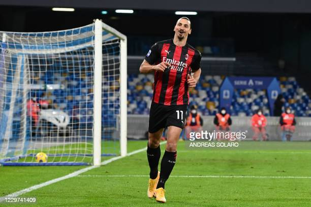 AC Milan's Swedish forward Zlatan Ibrahimovic recats after he scored an offside goal during the Italian serie A football match Napoli vs AC Milan on...