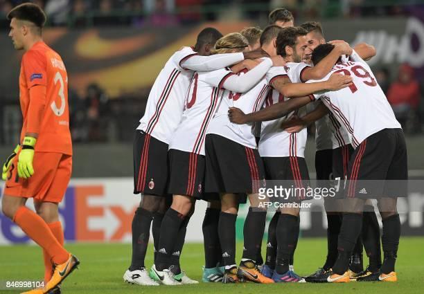 Milan's team celebrates scoring the 41 during the UEFA Europa League group D football match FK Austria Wien v AC Milan in Vienna Austria on September...