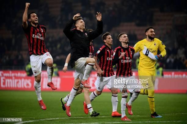 AC Milan's Turkish midfielder Hakan Calhanoglu AC Milan's Polish forward Krzysztof Piatek AC Milan's Spanish forward Samuel Castillejo and AC Milan's...
