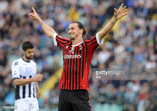 AC Milan's Zlatan Ibrahimovic celebrates after scoring during their Seria A football match AC Siena vs AC Milan at Montepaschi Arena stadium in Siena...
