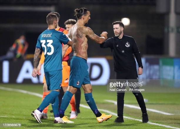 Milan's Zlatan Ibrahimovic greets Shamrock Rovers manager Stephen Bradley after the final whistle during the UEFA Europa League, Second Qualifying...