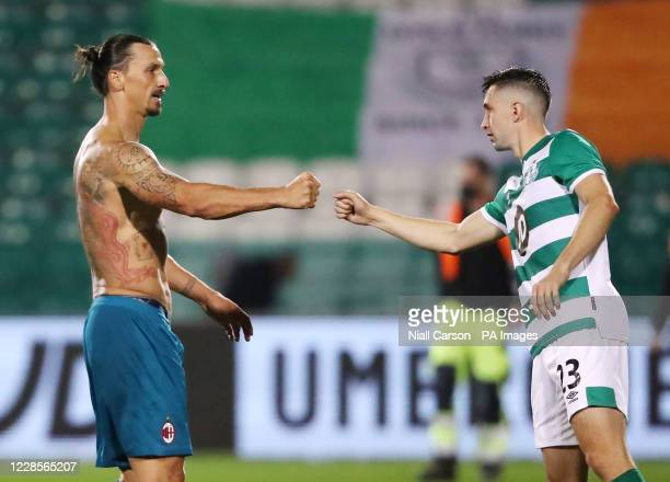 Milan's Zlatan Ibrahimovic greets Shamrock Rovers' Neil Farrugia after the final whistle during the UEFA Europa League, Second Qualifying Round match...