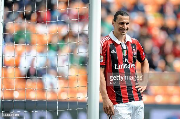 AC Milan's zlatan Ibrahimovic reacts during the Italian Serie A football match between AC Milan vs Novara on May 13 2012 in Milan AFP PHOTO / ALBERTO...