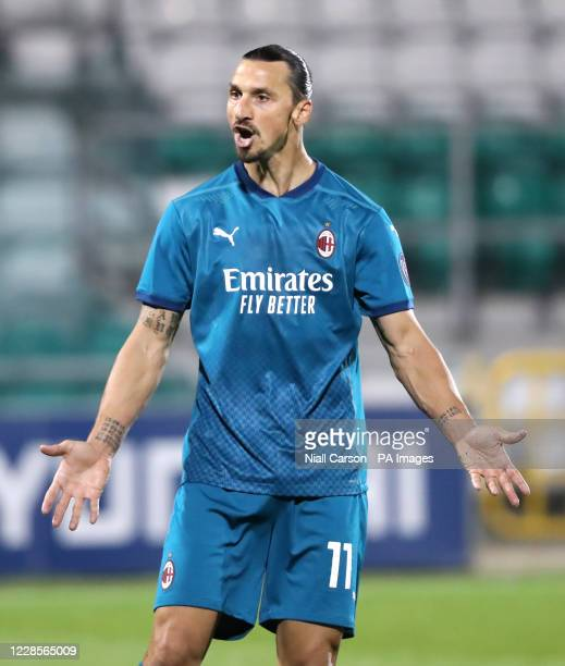 Milan's Zlatan Ibrahimovic reacts to a missed chance during the UEFA Europa League, Second Qualifying Round match at Tallaght Stadium, Tallaght.