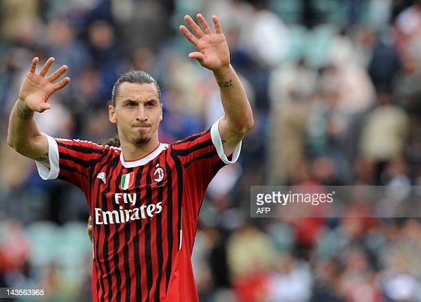 AC Milan's Zlatan Ibrahimovic waves after the end of the Seria A football match AC Siena vs AC Milan at Montepaschi Arena stadium in Siena on April...