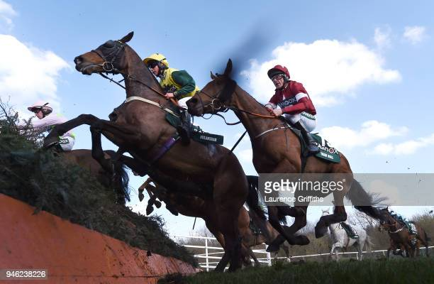 Milansbar ridden by Bryony Frost jumps Canal Turn ahead of eventual race winner Tiger Roll ridden by Davy Russell during the 2018 Randox Health Grand...