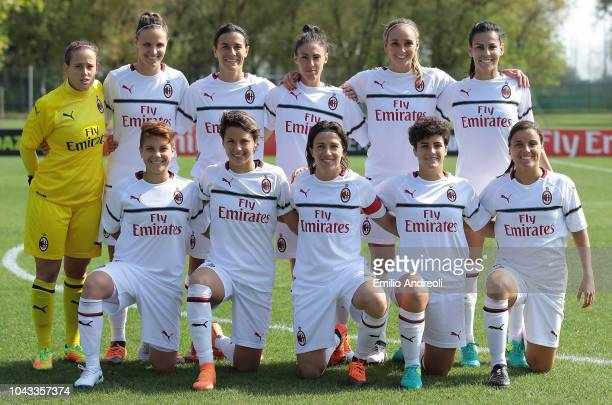 Milant team line up before the Serie A match between AC Milan Women and Fiorentina Women at Campo Sportivo Vismara on September 30 2018 in Milan Italy