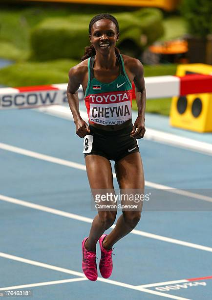 Milcah Chemos Cheywa of Kenya celebrates winning gold in the Women's 3000 metres steeplechase final during Day Four of the 14th IAAF World Athletics...
