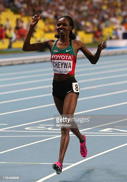 Milcah Chemos Cheywa of Kenya crosses the line to win gold in the Women's 3000 metres steeplechase final during Day Four of the 14th IAAF World...