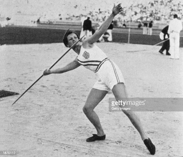 Mildred Babe Didrikson of the USA throws the javelin to win the gold medal during the Women's Track and Field javelin event at the 1932 Summer...