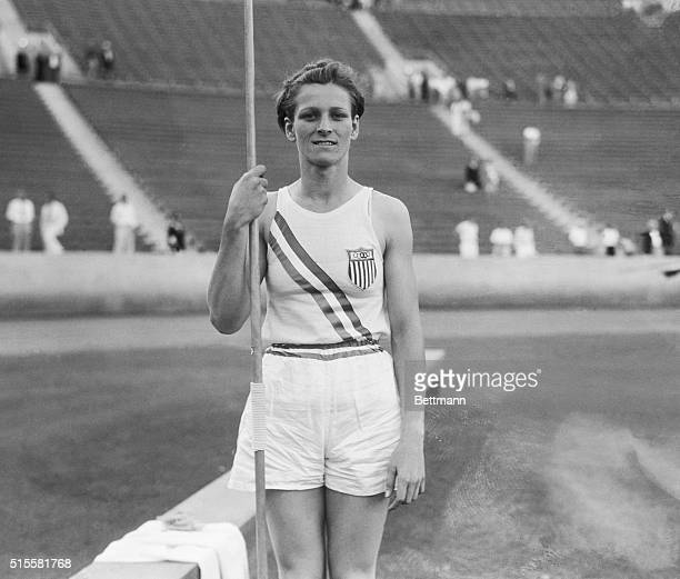 """Mildred """"Babe"""" Didrikson, shortly after setting a world record in the javelin competition at the 1932 Olympic Games."""